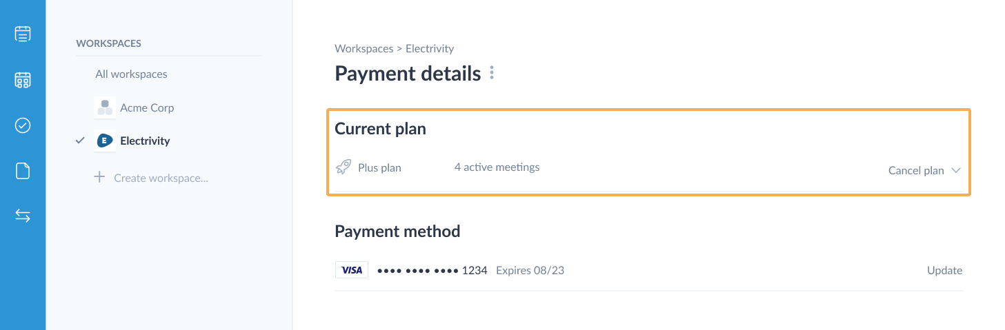 Highlight downgrade on the payment details page