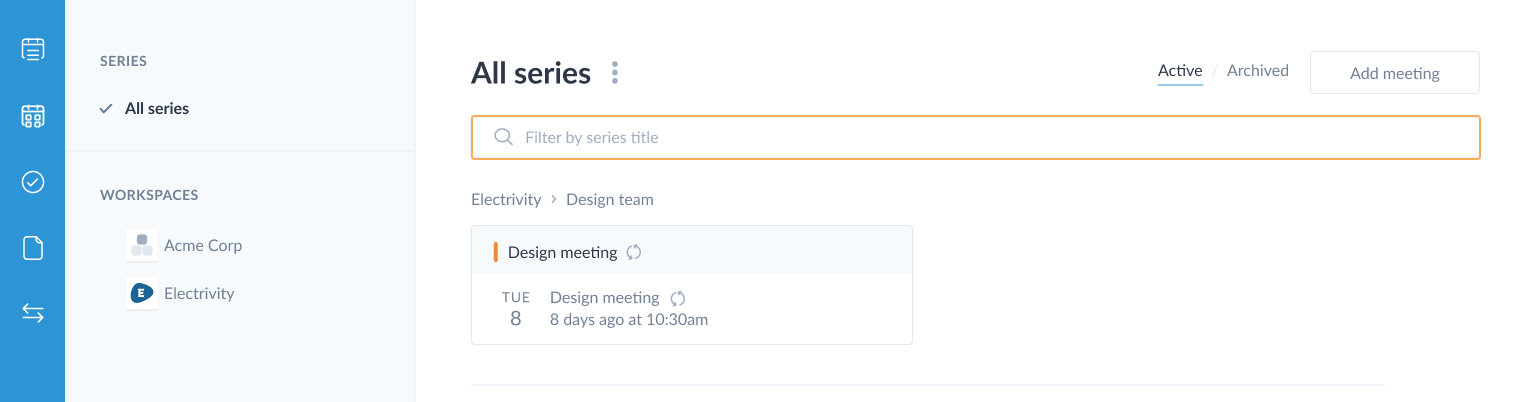 highlighting meeting filter by series title