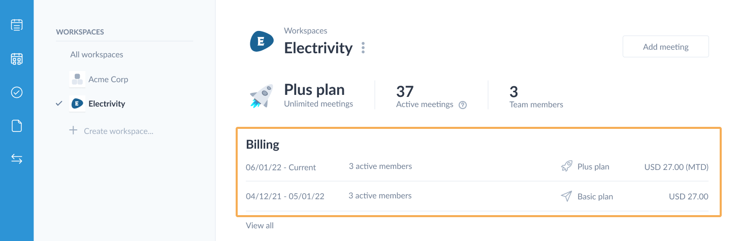 billing section on the workspace detail page