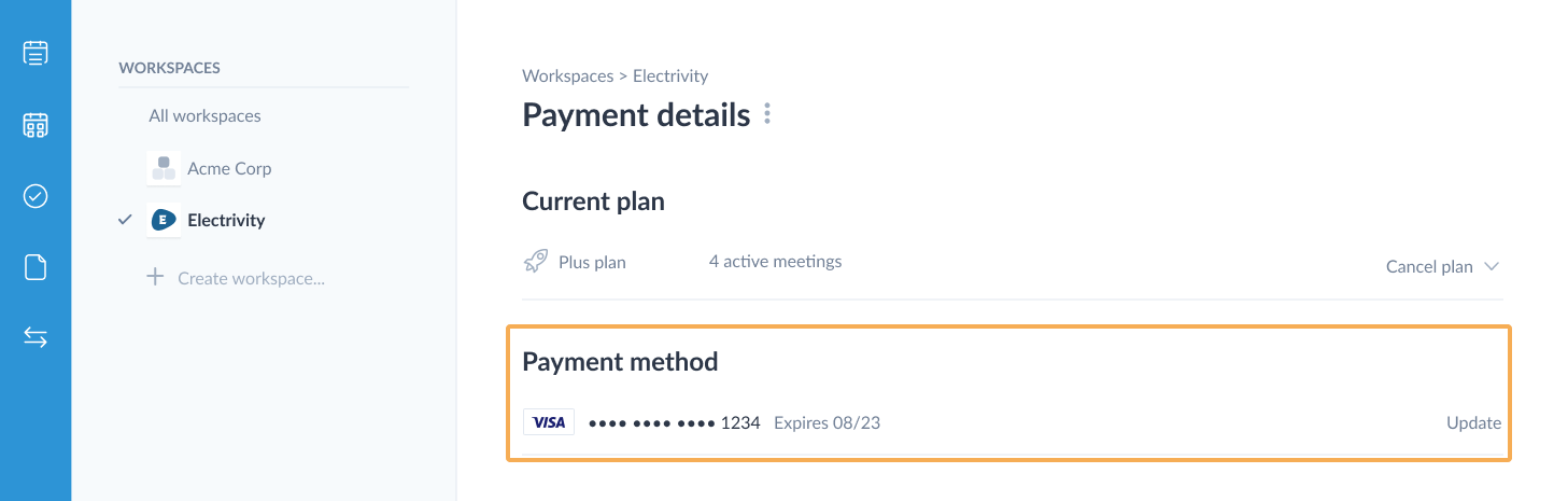 Payment details page