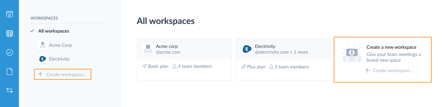 create workspace page
