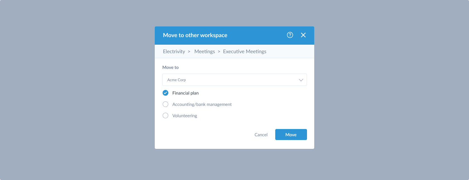 move series to workspace modal