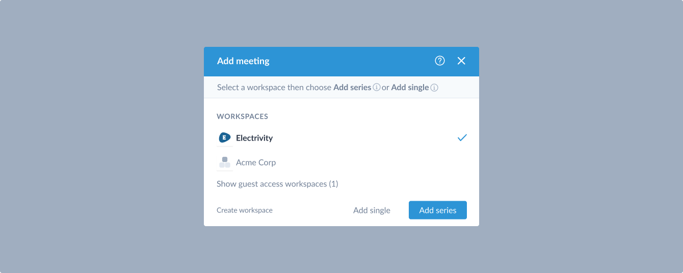 option in meeting modal